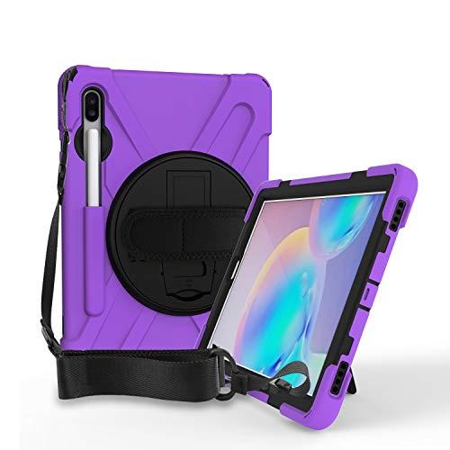 QYiD Case for Galaxy Tab S7 Plus 12.4' 2020 SM-T970/T975, [Support Pen charging] Cubierta Resistente Duradera a Prueba de Golpes con Soporte/Correa de Mano para Galaxy Tab S7 Plus/Galaxy S7+, Purpúreo