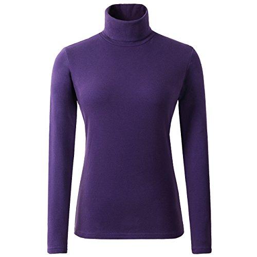 HieasyFit Women's Soft Cotton Turtleneck Top Basic Long Sleeve Pullover Violet S