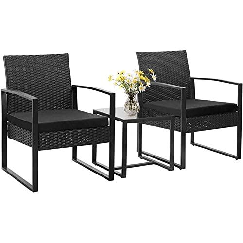 LLKK Terrace Furniture Cushion PE Rattan Tavern Chair Set de 2 piezas, con mesa, 3 piezas