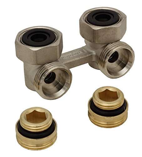 Simplex Zweirohr Hahnblock E1/50 Standard, Eckform, absperrbar, mit 1/2