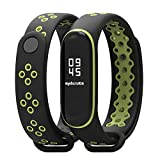 KOMI Compatible with Xiaomi Mi 3/4 Band Smart Watch, Breathable Sport Silicone Wristbands Bracelet for Woman Men Replacement Wrist Strap(black/green)