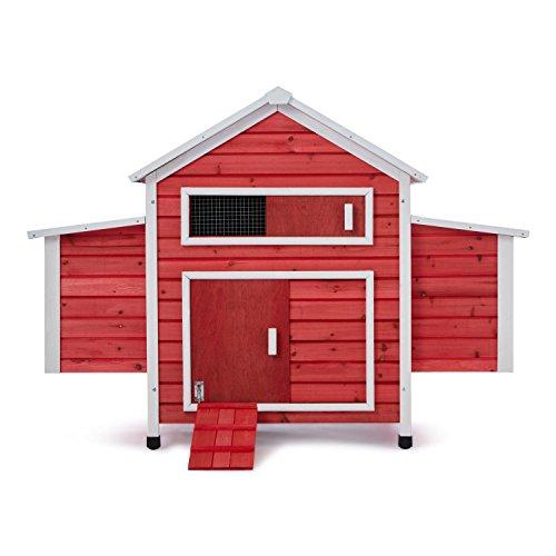 OneConcept Villa Hahnenkamm - Hühnerstall, Hühnerhaus, 3 trennbare Legeplätze, Zinkwanne, Schiebefenster mit Gitter, aufklappbare Dachteile, witterungsgeschützt,157 x 113 x 100 cm, rot - 2