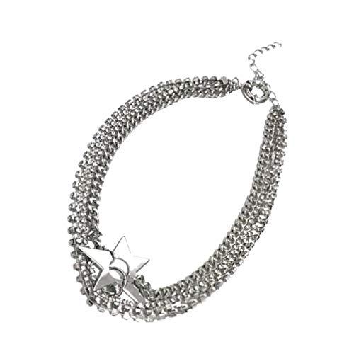 Happyyami Collar de Estrella en Capas Ajustable Colgante de Bohemia Collar de Diamantes de Imitación Clavícula Cadena de Cuello Gargantilla para Mujeres Niñas Joyería (Plata)