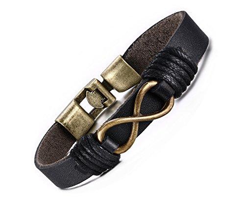 Vnox Original Herrenlederarmband mit Unendlichkeitszeichen aus Bronze, Armband Schwarz, 22cm Länge