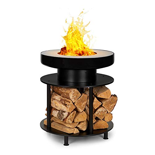 blumfeldt Wood Stock 2-in-1 Feuerschale & BBQ-Grill,Ring of Fire BBQ Ledge: 12,5 cm breiter Edelstahl-Bratring,Feuerschale: Ø 56 cm / 30 cm mit Bratring,Holzlager: 22,5 x 35 cm (TxH),schwarz