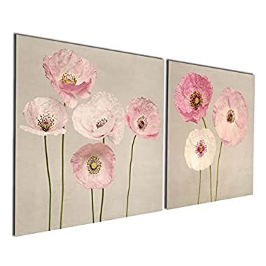 Gardenia Art - Pink Flowers Modern Canvas Wall Art Paintings Red Flowers Artwork for Bedroom Living Room Decoration,12x12 inch per piece, Stretched and Framed, Ready to Hnag