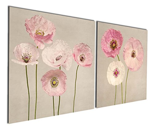 Gardenia Art - Pink Flowers Modern Canvas Wall Art,16x16 inch,2 Pcs, Stretched and Framed