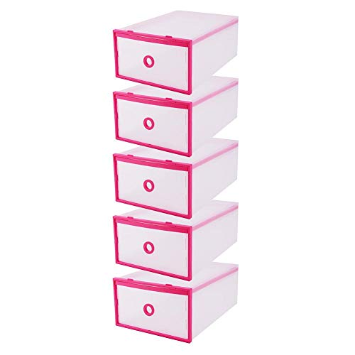 """Stackable Shoe Storage Boxes 5-Pack Transparent Multifunction Plastic Foldable Shoe Boxes Storage Organiser DIY Shoe Drawers for Home Storage Pink 11""""x 8""""x 5"""""""