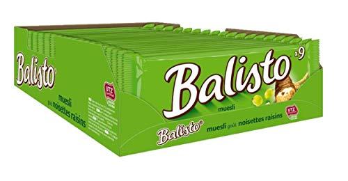 Balisto Schokoriegel | Müsli-Mix, grün | Jeweils 9 Riegel in 19 Packungen (19 x 9 x 18,5 g)