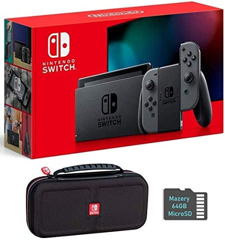 Nintendo Switch Bundle w Case SD Card Nintendo Switch 32GB Console with Gray Joy Con Mazery product image
