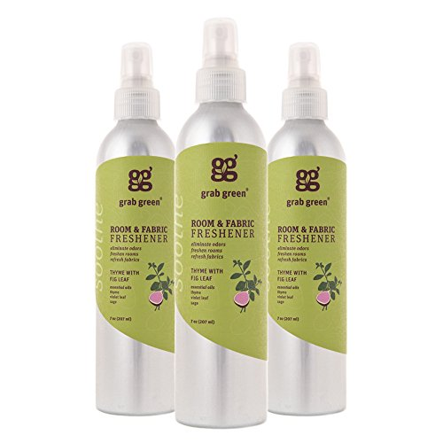 Grab Green Natural Room & Fabric Freshener, Phthalate-Free, Thyme with Fig Leaf, 7 Ounce Bottle (3-Pack)