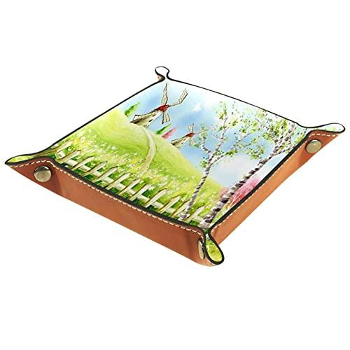 Svuotatasche in pelle, supporto quadrato pieghevole per vassoio per dadi, piatto organizer per cassettiera per monete portamonete daisy grass windmill benvenuta primavera
