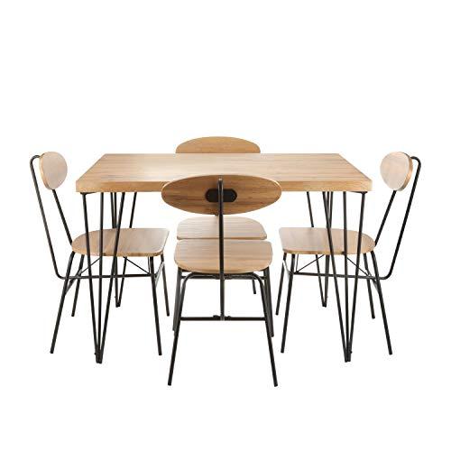 Set tavolo da pranzo con quattro sedie Legno