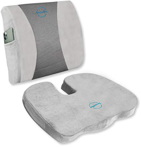 Ultimate Set: Ergonomic Back and UShaped Seat Cushions  100% Memory Foam Orthopedic Pillows for Car Office and Home Chairs  Relieves Coccyx Tailbone Sciatica Lumbar Pain and Improves Posture