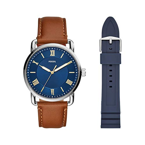 Fossil Men's Copeland Stainless Steel Quartz Watch with Leather Strap, Brown, 22 & 22mm Silicone Watch Band, Color: Navy Blue