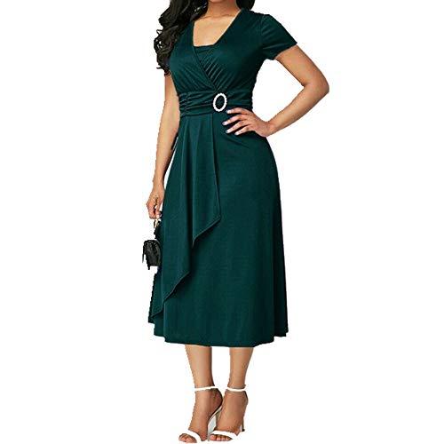 Summer Spring Vintage Dress Women V Neck Short Sleeve Solid Dresses Green