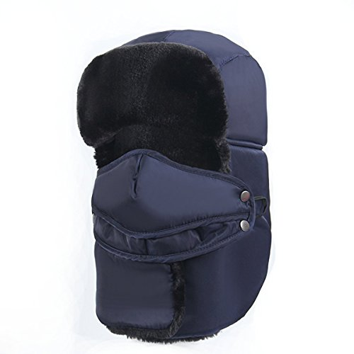MOOKZZ Winter Trapper Fur Hat, Men Women Ushanka Russian Bomber Style Trooper Cap Face Cover