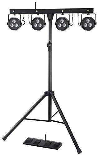 Showlite LB-4390 LED Licht Komplettanlage RGB, mit Wireless Fußschalter (Tri-LED PAR Spots, weiße Strobe-Spots, DMX512, Funk-Fußpedal, LCD-Display, Mikrofon, T-Bar, Stativ, Taschen)