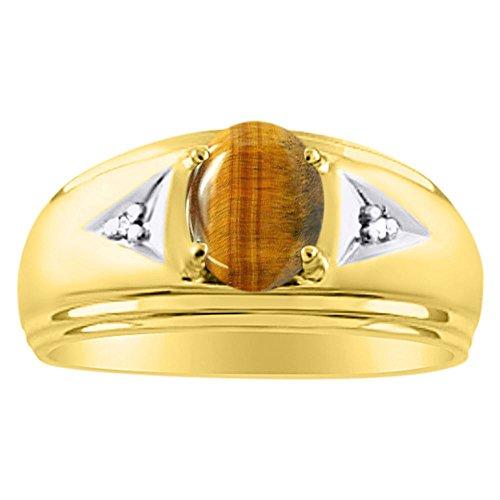 Diamond & Anillo de ojo de tigre 14K amarillo o 14K oro blanco