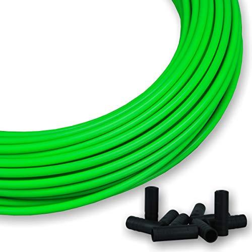 GreVeloro Funda de repuesto para cable de cambio de bicicleta, 4 m, incluye 10 tapas de extremo de 4 mm de diámetro, color azul, amarillo, verde, rojo