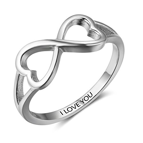 SILBERTALE Womens 925 Sterling Silver Double Heart Infinity Promise Ring Band I Love You Size 6