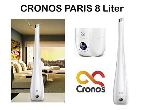ORIGINAL CRONOS PARIS luchtbevochtiger met ionisator - diffuser luchtbevochtiger ultrasone - 8 liter - voor ruimtes tot 60 m2/160 m3 - ultra stil