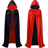 Tonsooze Cape de Vampire d'halloween, Cape réversible de Vampire Cape de Cape à Capuche Vampire Deguisement Adulte Enfant pour Halloween Fête Costumes de Cosplay, 150cm