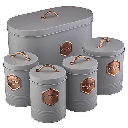 Cooks Professional Aufbewahrungsdosen-Set für die Küche, 5-teilig, für Tee, Kaffee, Zucker, Kekse und Brot, mit Kupfer-Details (Grau/Kupfer)