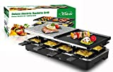 Artestia Electric Raclette Grill with Two Half Size Top Plates (Non-Stick Reversible Aluminum and...