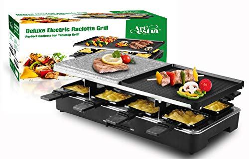 Artestia Electric Raclette Grill with Two Half Size Top Plates (Non-Stick Reversible Aluminum and High Density Granite Stone), Serve the whole family...
