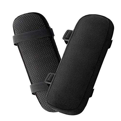 Office Chair Armrest Pads - 2Packs Memory Foam Chair Armrest Pads for Office Chair, Wheelchair Armrest Pads Elbow Pillow for Forearm Pressure Relief (Black)