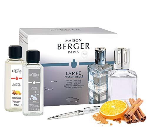 Lampe Berger 3298 Weihnachts-Edition Starter Set eckig inkl. Brenner/Docht und 2 Nachfüllflaschen 250 ml Parfum de Maison Orange-Zimt und Duft Neutral + Kugelschreiber Lieblingsmensch