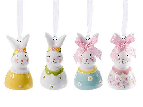 Gruppo Maruccia Decorazioni Pasquali da Appendere in Ceramica Lucida a Forma di Coniglietti Set da 8 Conigli Pasquali da Appendere