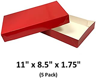 Red Apparel Decorative Gift Boxes with Lids for Clothing and Gifts 11x8.5x1.75 (5 Pack) | MagicWater Supply