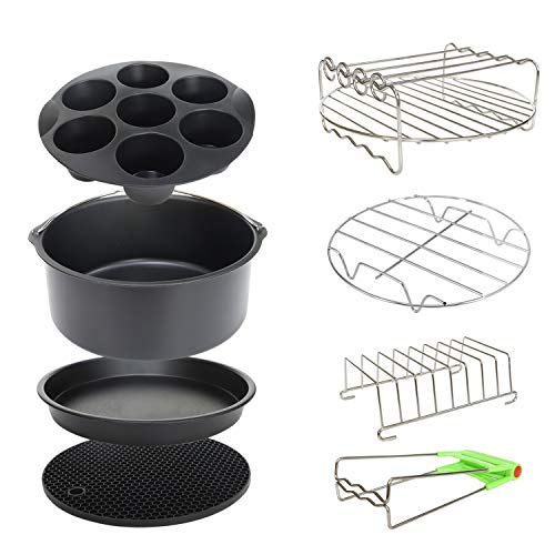 8 Inch XL Air Fryer Accessories 8Pcs for Phillips Cozyna and Secura etc,Fit Most 4.2QT - 5.8QT Air Fryer
