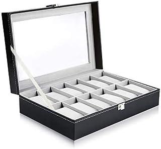 Ohuhu Coffret à Montres, Boite pour Montres et Bracelets, Coffret pour montres avec serrure boîte à montre,12 Slot Présent...