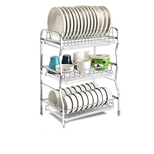 CDXZRZYH 3 TIER Dish Rack Drain Rack Kitchen Rack Multi-layer Drying Dish Platos Vajilla 304 Piso De Acero Inoxidable Rack De Almacenamiento Para El Hogar