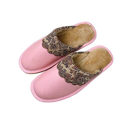 XVXFZEG De las mujeres de los hogares algodón cómodo zapatillas, forrado de vellosidades Zapatos de interior de color rosa, al aire libre antideslizante impermeable espesado tendón Sole, la suciedad r