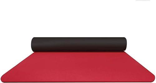 QRFDIAN Tapis de Yoga TPE épaississement élargi Long Tapis de Remise en Forme antidérapant male Tapis de Yoga débutant (Couleur   rouge+noir)