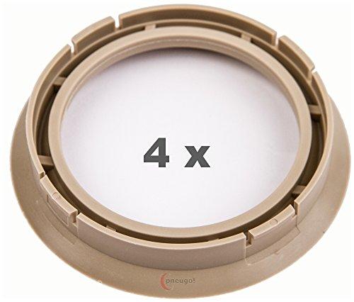 4 x pneugo! Bagues de centrage pour jantes alu 72.5 mm - 57.1 mm