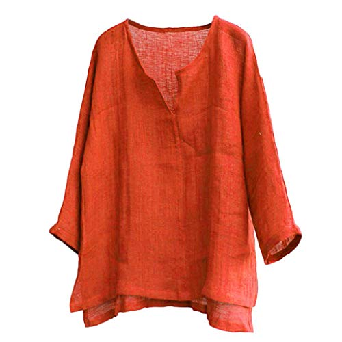 TUDUZ Camiseta Hombre Manga Larga Camisa Breve Respirable Confortable Top Algodón y Lino Color Sólido Ropa Otoño (Naranja, M)