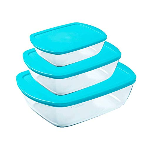 Pyrex Cook & Store Oven Dishes with Blue Lids Set of 3 Piece