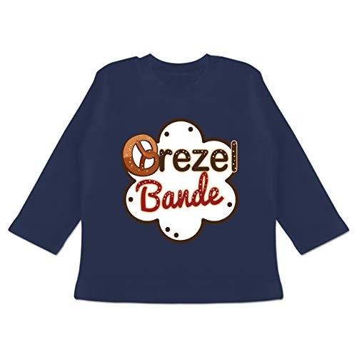 Oktoberfest & Wiesn Baby - Brezel Bande - weiß/braun - 12/18 Monate - Navy Blau - Fun - BZ11 - Baby T-Shirt Langarm