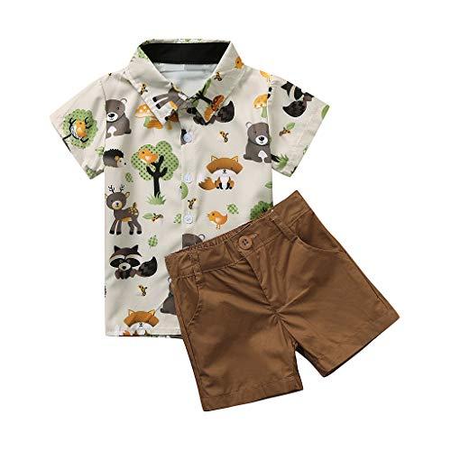 Hui.Hui La Chemise à Manches Courtes pour Enfants en Forme de Ballon Imprimé + Short de Couleur Unie Convient à Un Gentleman
