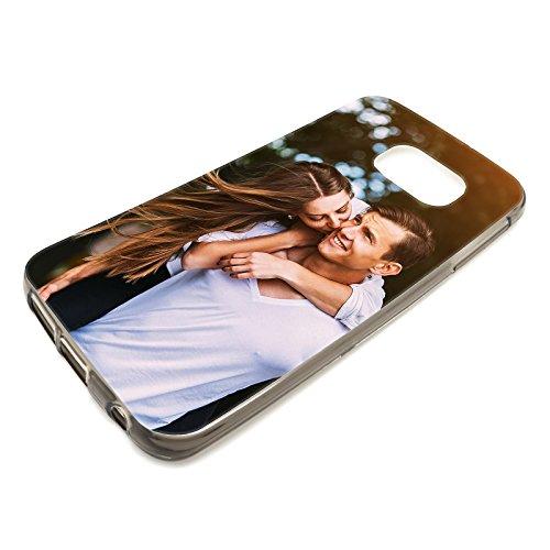 Foto-Handyhülle mit eigenem Bild kompatibel mit Samsung Galaxy J3 (2017), Hülle: dünnes Slim-Silikon in Transparent-Schwarz, personalisiertes Premium-Case selbst gestalten mit flexiblem Druck