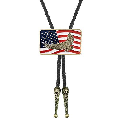 QUKE Native American Bald Eagle USA Flag Bolo Tie Genunie Leather for Men