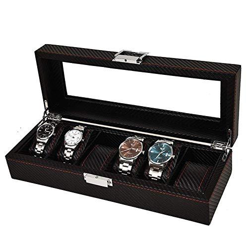 Caja de Relojes Caja de Relojes 6 Caja de presentación de Relojes Caja de Almacenamiento de Piel sintética con Panel de Vidrio Soporte de joyería para Hombres Exhibición de Relojes Exquisita