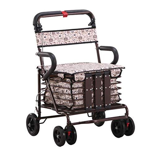 PNYGJZXQ Rolling Walkers Winkelwagen Oude Man Trolley Walker Verhogen De Stoel om te kopen Voedsel Vrachtwagen Huishouden Vouwen Rolstoel voor Seniors Indoor Outdoor gebruik