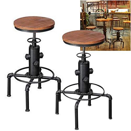 Wangkangyi 2 sgabelli da bar, design industriale, altezza regolabile, stile vintage, 34 x 34 x 60-80 cm