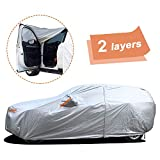 Cubierta de Coche SUV Completa Universal Impermeable de 2 Capas para Todo Clima, Puerta con Cremallera, Protección contra el Viento y Granizo de Nieve UV, Fit SUV-445cmx 183cmx 143cm
